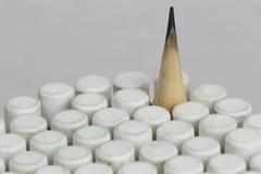 Una matita sopra alla gomma fotografia stock libera da diritti