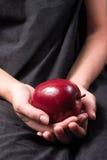 Una mela rossa glive come presente Fotografia Stock