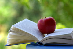 Una mela rossa su un libro. Fotografia Stock