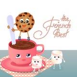 Una melcocha, una galleta de microprocesador de chocolate y una taza de café Imagen de archivo