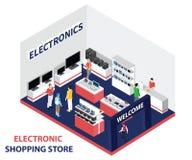 una memoria elettronica locale dove la gente sta comprando l'elettronica materiale illustrativo isometrico illustrazione vettoriale