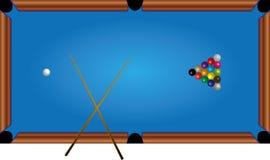 Una mesa de billar, orbes, señal, un juego Imagen de archivo