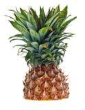 Una metà ha tagliato l'ananas contro una priorità bassa bianca Fotografia Stock