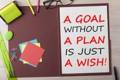 Una meta sin un plan es apenas un concepto del deseo fotografía de archivo