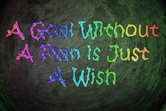 Una meta sin un plan es apenas un concepto del deseo Imágenes de archivo libres de regalías