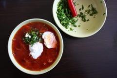 Una minestra piccante del pomodoro con peperoncino fotografia stock libera da diritti