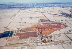 Una miniera della potassa osservata dalle altezze di un aeroplano Fotografia Stock Libera da Diritti