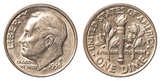 Una moneda americana de la moneda de diez centavos Fotografía de archivo libre de regalías