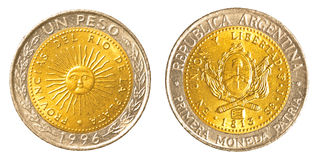Una moneda argentina del Peso Fotos de archivo