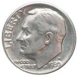 Una moneda de la moneda de diez centavos Foto de archivo