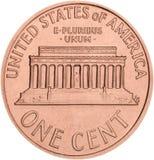 una moneda del centavo aislada en el fondo blanco Fotografía de archivo libre de regalías