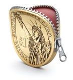Una moneda del dólar con la cremallera ilustración del vector