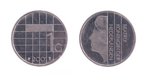 Una moneda del florín holandés, dinero viejo de los Países Bajos Fotos de archivo