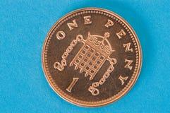 Una moneda del penique imagen de archivo