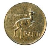Una moneda del rand aislada en blanco Viñedo famoso de Kanonkop cerca de las montañas pintorescas en el resorte 1977 Fotos de archivo