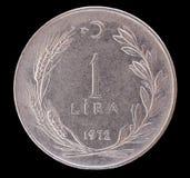 Una moneda vieja de la lira turca, 1972 Foto de archivo