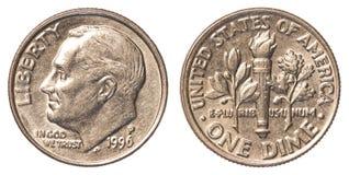 Una moneta americana della moneta da dieci centesimi di dollaro Fotografia Stock Libera da Diritti