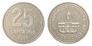 una moneta argentina da 25 centavi del peso Fotografia Stock Libera da Diritti