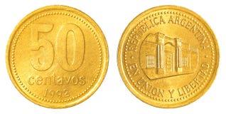 una moneta argentina da 50 centavi del peso Fotografia Stock