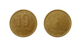 Una moneta argentina da dieci centavi del peso Fotografia Stock Libera da Diritti