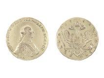 Una moneta d'argento antica di 1762 Immagine Stock Libera da Diritti