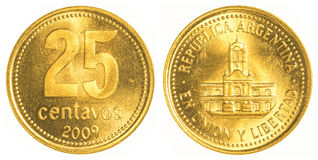 una moneta da 25 centavi dell'Argentina Fotografie Stock
