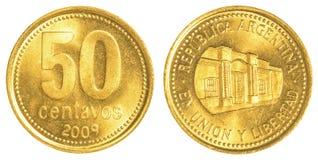 una moneta da 50 centavi dell'Argentina Immagine Stock Libera da Diritti