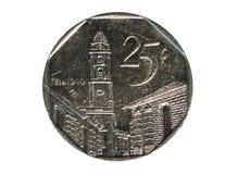 Una moneta da 25 centavi, la Banca di Cuba Complemento, 2006 Immagini Stock