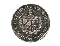 Una moneta da 25 centavi, la Banca di Cuba Inverta, 2006 Immagini Stock