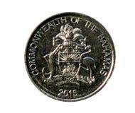 Una moneta da 25 centesimi (commonwealth - invenzione decimale) La Banca delle Bahamas Fotografia Stock Libera da Diritti