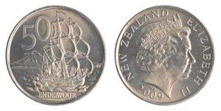 Una moneta da 50 centesimi della Nuova Zelanda Fotografia Stock