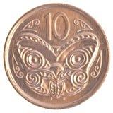 Una moneta da 10 centesimi della Nuova Zelanda Fotografia Stock