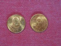 Una moneta da 50 centesimi di EUR Fotografie Stock