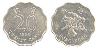 Una moneta da 20 centesimi di Hong Kong Immagine Stock