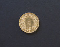 una moneta da 5 centesimi, Svizzera Fotografia Stock Libera da Diritti