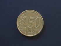 una moneta da 50 centesimi, Unione Europea Fotografia Stock Libera da Diritti