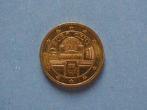 una moneta da 50 centesimi, Unione Europea, Austria Fotografia Stock Libera da Diritti