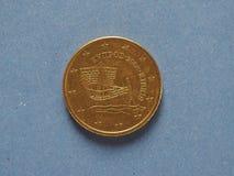una moneta da 50 centesimi, Unione Europea, Cipro Fotografie Stock Libere da Diritti