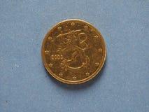 una moneta da 50 centesimi, Unione Europea, Finlandia Fotografie Stock Libere da Diritti