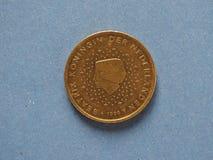 una moneta da 50 centesimi, Unione Europea, Paesi Bassi Fotografie Stock Libere da Diritti