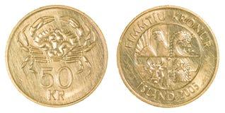 una moneta da 50 corone islandesi Fotografie Stock