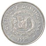 una moneta da 25 della Repubblica dominicana centavi del peso Fotografia Stock