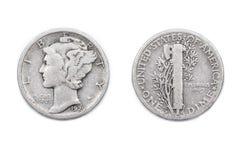 Una moneta da dieci centesimi di dollaro americana Immagini Stock