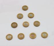 Una moneta da dieci rupie dell'India Immagine Stock
