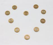 Una moneta da dieci rupie dell'India Progettazione del modello di amore Fotografia Stock