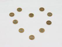 Una moneta da dieci rupie dell'India Progettazione del modello di amore Immagine Stock