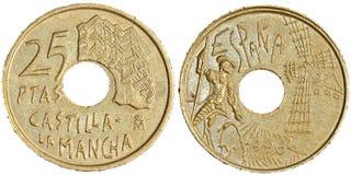 Una moneta da 25 peseta Fotografie Stock Libere da Diritti