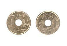 una moneta da 25 peseta, pubblicata dalla Spagna nel 1997 Immagini Stock Libere da Diritti