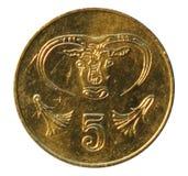 Una moneta dai cinque centesimi La Banca del Cipro 2001 Fotografia Stock Libera da Diritti
