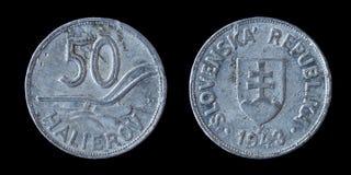 una moneta dei 50 halierov Fotografia Stock